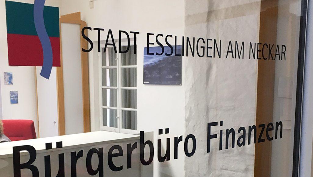 Stadt Esslingen Glasbeschriftung